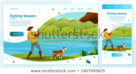 Fishing fisherman from platform vector poster Stock photo © robuart