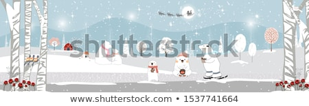 веселый Рождества Дед Мороз коньки снега сцена Сток-фото © ori-artiste