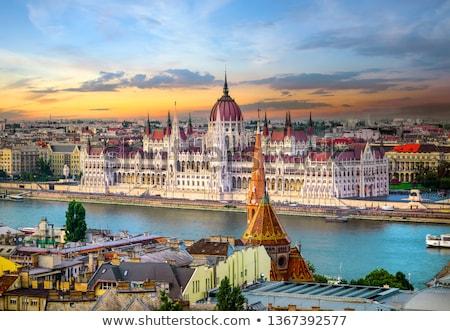 Heldere zonsondergang Boedapest beroemd gebouw natuur Stockfoto © Givaga
