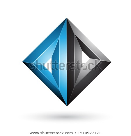Blue and Black 3d Geometrical Embossed Triangle Diamond Shape Ve Stock photo © cidepix