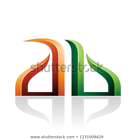 Orange and Green Bow-like Embossed Letters of A and B Vector Ill Stock photo © cidepix