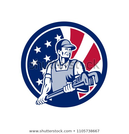 American Plumber and Pipefitter USA Flag Icon Stock photo © patrimonio