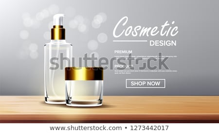Cosmetic Glass Ads Vector. Luxury, Fashion. Fragrance, Collagen. Bottle. 3D Isolated Transparent Rea Stock photo © pikepicture