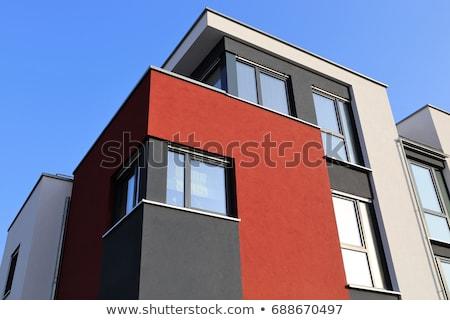 Lakóövezeti otthon modern homlokzat festmény piros Stock fotó © boggy