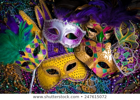 Mardi Gras Fat Tuesday carnival celebrations in New Orleans. Text lettering for greeting card Stock photo © orensila
