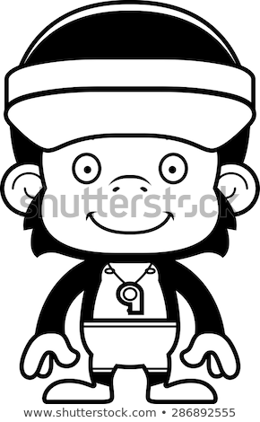 Cartoon Smiling Lifeguard Chimpanzee Stock photo © cthoman
