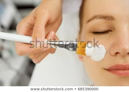 Közelkép női ügyfél arc szivacs szépségszalon Stock fotó © Kzenon