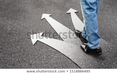 üç · seçenekleri · el · beyaz · tahta · yol - stok fotoğraf © ra2studio