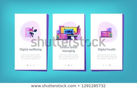 Digitalen Wohlbefinden App Schnittstelle Vorlage Benutzer Stock foto © RAStudio