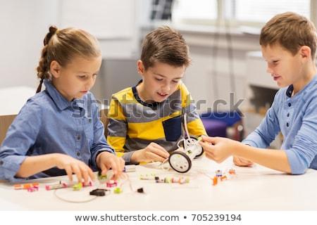 Mutlu çocuklar Bina robotlar robotik okul Stok fotoğraf © dolgachov