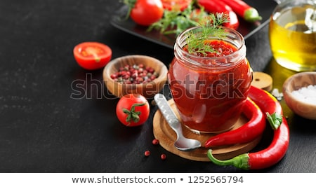 maison · huile · d'olive · tomates · piment · à · l'intérieur · fraîches - photo stock © peteer