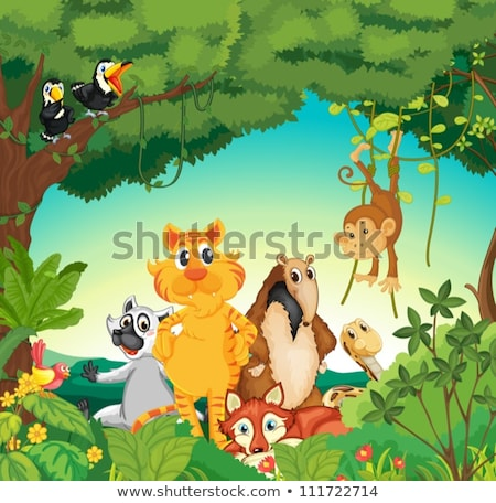 Raining scene with kids in forest Stock photo © colematt