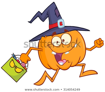 crazy witch pumpkin cartoon character running stock photo © hittoon