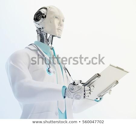 Insansı robot stetoskop tıbbi asistan 3d illustration Stok fotoğraf © limbi007