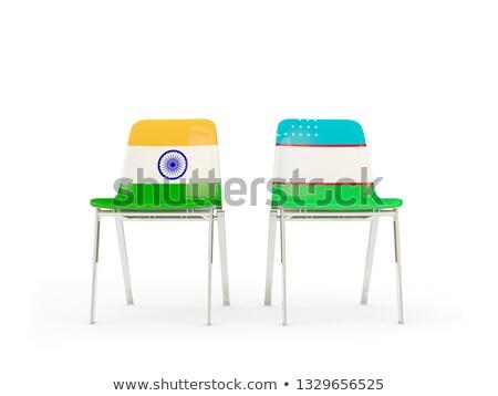 Kettő székek zászlók India Üzbegisztán izolált Stock fotó © MikhailMishchenko