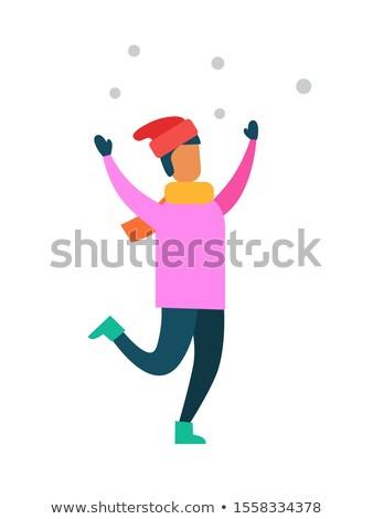 Férfi rózsaszín pulóver mikulás kalap meleg Stock fotó © robuart