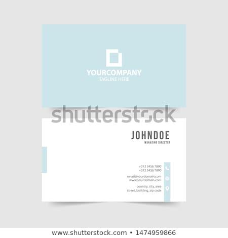 En az beyaz kartvizit şablon ayarlamak iş Stok fotoğraf © SArts