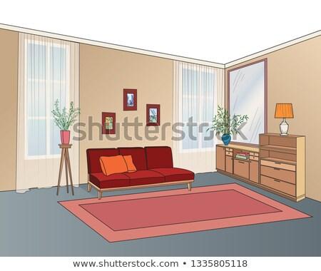 Zimmer Innenraum Möbel Sofa Regale Tabelle Stock foto © Terriana