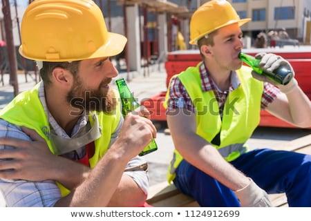 Casco trabajador establecer de trabajo hombre animado Foto stock © toyotoyo