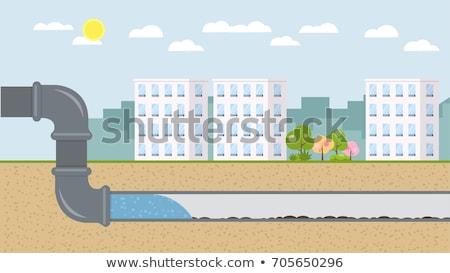 Miasta podziemnych wody rury ulicy tle Zdjęcia stock © colematt