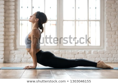 Woman Practicing Yoga At Home Doing Sun Salutation Routine Stock photo © diego_cervo