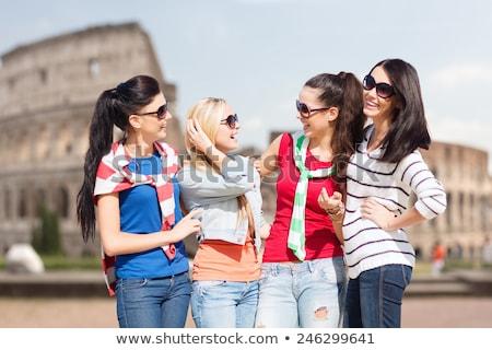 feliz · jovem · mulher · loira · adolescente · óculos · de · sol · emoções - foto stock © dolgachov