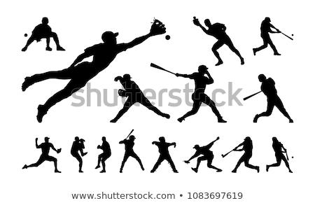 cartoon · giocatore · di · baseball · bat · design · baseball · home - foto d'archivio © olllikeballoon