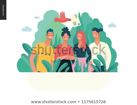 Együttműködés leszállás oldal üzleti csapat ötletelés ötlet Stock fotó © RAStudio