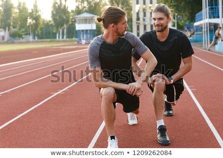 Tweelingen broers buitenshuis foto Stockfoto © deandrobot