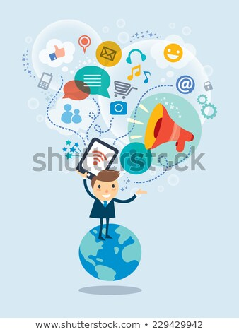 事業者 立って ソーシャルメディア 笑顔 顔 ストックフォト © ra2studio