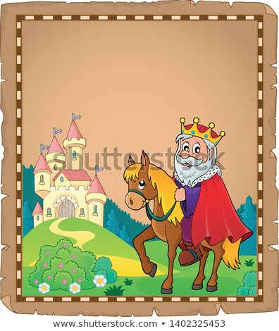 parchment with king on horse theme 3 stock photo © clairev