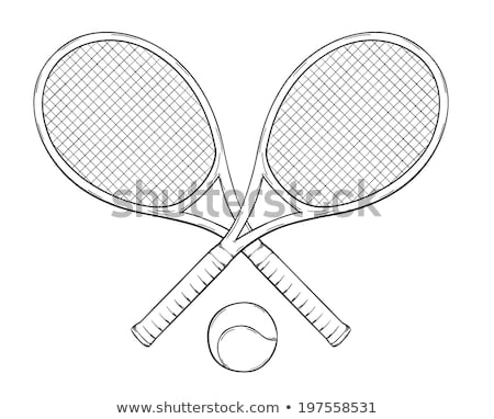 Two balls for playing tennis on racket crossing white line Stock photo © pressmaster