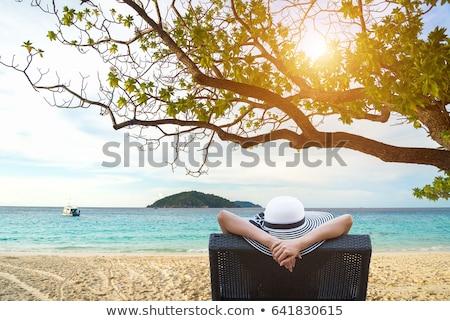 Jovem mulher atraente relaxante espreguiçadeira óculos de sol Foto stock © pressmaster