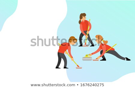 Curling Team, People Playing Game Together Web Stock photo © robuart