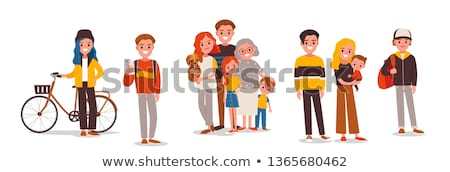 couples and biker woman with phone set vector stock photo © robuart