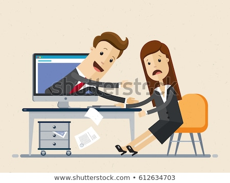 Computer Monitor with Man Vector Illustration Stock photo © robuart