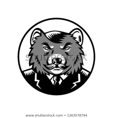 Stock photo: Tasmanian Devil Wearing Business Suit Woodcut