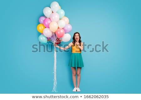 幸せな女の子 · 白 · バルーン · 幸せ · 美しい - ストックフォト © creisinger