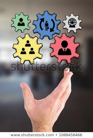 Mão pessoas engrenagens gráficos escritório composição digital Foto stock © wavebreak_media
