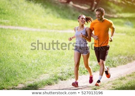 çift jogging orman kadın adam güzel Stok fotoğraf © lichtmeister