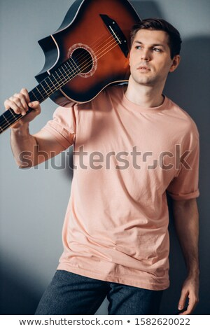 gitáros · játszik · gitár · hang · zenei · stúdió · zene - stock fotó © pressmaster
