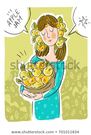 meisje · mand · groene · appels · geïsoleerd · witte - stockfoto © robuart