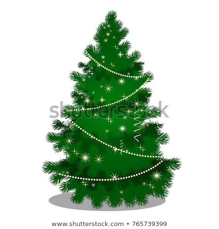 zöld · karácsonyfa · gyöngyök · pezsgő · izolált · fehér - stock fotó © Lady-Luck