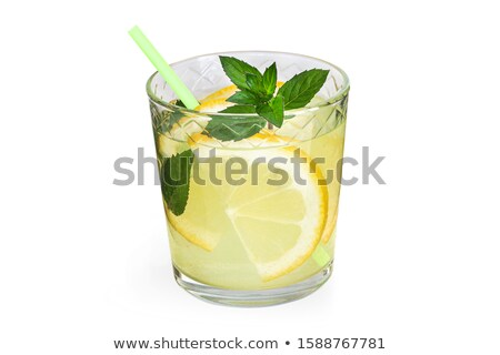 cold refreshing summer lemonade with mint in a glass stock photo © manaemedia