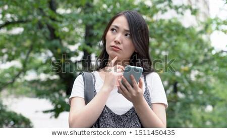 Donna perso smartphone telefono natura stanza Foto d'archivio © AndreyPopov