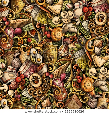 Russian food vector hand drawn doodles seamless pattern. Stock photo © balabolka