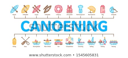 Canoeing Minimal Infographic Banner Vector Stock photo © pikepicture