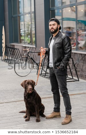 Stylish man in casualwear standing on trottoire during chill with his cute pet Stock photo © pressmaster