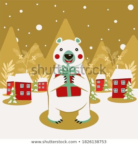 Oso polar Navidad anunciante Foto stock © balasoiu