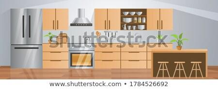家族 キッチン ショールーム ショッピング 新しい モデル ストックフォト © Kzenon